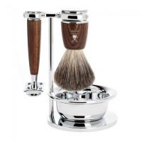 Комплект за бръснене MÜHLE, четка с естествен косъм от язовец (Pure badger), класическа самобръсначка, дръжки от парен ясен, със стойка и купичка