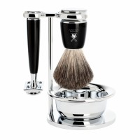 Комплект за бръснене RYTMO от MÜHLE, четка с естествен косъм (Pure badger), класическа самобръсначка затворен гребен, дръжки от висококачествена смола